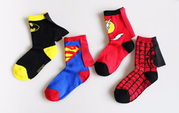 Wholesale 3 to Years boys girls kids baby socks spiderman Superman batman flashman cloak cotton socks children dancing cosplay party socks