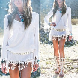 2016042904 2016 Summer Women Boho Tassel Dress Short Vestidos Sexy Lace Crochet Chiffion Tunic Hollow Black White Beach Shirt Dress