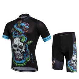 Promotion cuissard vente Vente chaude nouveau cyclisme Chemises Hauts Hommes Vélo Costumes Maillot cyclisme Shorts Kits Top shirt de style Culotte Set M-XXL Skulls