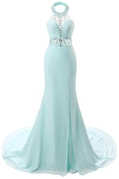Wholesale 2016 New Aqua Sexy Halter Crystal Prom Dresses Sheer Beaded Backless Mermaid Long Prom Evening Gowns Split Arabic Party Dresses