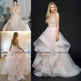 Wholesale Hayley Paige Amazing Pink Lace Wedding Dresses with Long Sleeves Middle East Arabic Boning Princess Garden Country Bridal Gowns