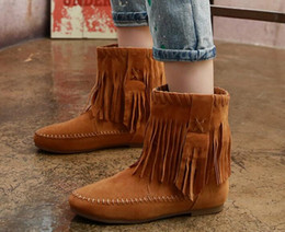 Autumn and Winter Female Tassel Boots Shoes Female Winter Boots Size Female Student Flat Warm Boots