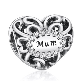 Wholesale Hot Sale Sterling Silver Openwork Hearts Mum Love With CZ Charm Beads Fit Pandora Style Bracelet Bangle DIY Jewelry Making