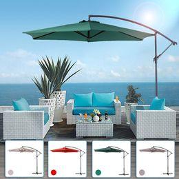 Wholesale IKAYAA M Adjustable Patio Garden Hanging Umbrella with Crank Cross Base Wind Vent Sun Shade Outdoor Cafe Beach US STOCK H16693