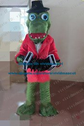 Wholesale Efficient Green Crocodile Alligator Hold Piano Accordion Mascot Costume Cartoon Character Mascotte Adult Red Clothes ZZ1525 FS