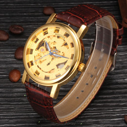 WEIGUAN Luxury Band Leather for Mens Fashion Waterproof Mechanical Watch Skeleton Watch for Man Business Watches Casual Sport Watch