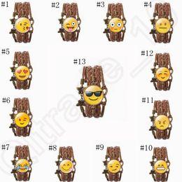 2017 pendeloques de cristal Emoji tressés Bracelets Infinity Amour visage souriant Bracelet strass cristal papillon Vintage Jewelry Pendentif 13 designs OOA701 promotion pendeloques de cristal