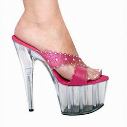 Wholesale Women s shoes sell dazzle colour lamp fashion sexy temptation nightclub steel pipe pumps water super thick waterproof sandals