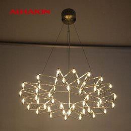 Wholesale ALHAKIN Modern LED Sparks Chandelier Chrome Nickle Living Room Lamp Dia45 H cm Suspension Luminaire Restaurant Chandelier