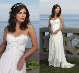 Wholesale Champagne Wedding Gowns Prices - Beach Wedding Bride Dresses 2016 Sexy Empire Sweetheart Ruffles Appliques Chiffon Low Price Bridal Dress Hot Sale Summer Casual Bridal Gowns