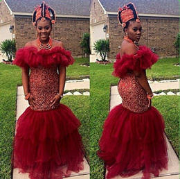 Wholesale African Black Girl Prom Dress Beads Wall Cap Sleeve Mermaid Ruffles Long Evening Dress From Party Festa