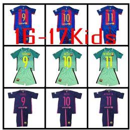 Wholesale Barcelona jerseys kids MESSI ARDA A INIESTA SUAREZ SERGIO PIQUE I RAKITIC NEYMAR JR home and away child Football shirts