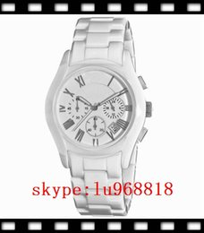 Wholesale TOP QUALITY BEST PRICE New Womens Ceramic White Chronograph Dial Quartz Watch AR1404 Orignal Box