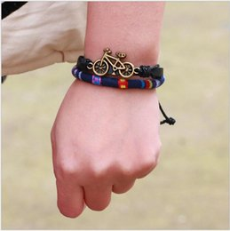 Wholesale Discount Pandora jewelry La cord bracelet on the rope Real leather bracelet Small adorn article Cartoon bicycle Free transportation