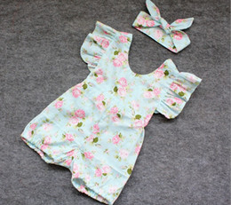 Wholesale 2016 INS hot baby girl infant toddler piece outfits floral romper diaper covers bloomers Ruffles Lace bowknot headband headwrap cotton