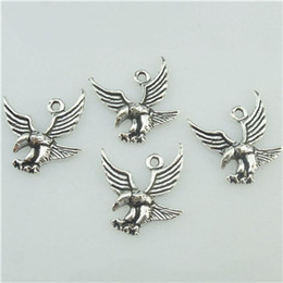 16517 50PCS Alloy Antique Silver Vintage Animal Bird Flying Eagle Pendant Charm