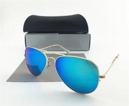 Wholesale New Men Sunglasses Frame Brand Designer Top Quality Glass Lens Metal frame Unisex Retro Mirror Aviator Glasses with Original Case Box