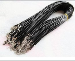 Wholesale craft wire Black Wax Beading leather necklace cord String Rope Wire with Lobster Clasp DIY jewelry component cm diameter mm