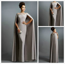 Wholesale Sexy Formal Evening Dresses Elie Saab Gray With Cape Ruffles Lace Edged Cheap Long Sheer Prom Party Gowns Evening Wear Dress Abendkleid