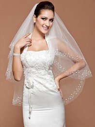 New Best Selling Romantic Two Layer Wrist Length Veil With Beautiful Tulle Pearls beading Wedding Veils Bridal Accessories