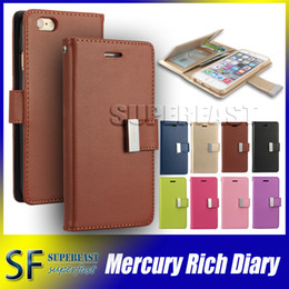 Wholesale For iPhone MERCURY Coospery Wallet Case for Galaxy Note Rich Diary PU Leather Card Slot Multi Function Wallet Photo Frame Case OPP Bag