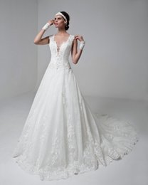 Wholesale sexy princess a line wedding dresses sleeveless thicks trap v neck deep plunging neckline lace illusion back royal train wedding gowns