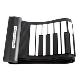 Wholesale-Black+White Flexible 61Keys Professional MIDI Keyboard Electronic Roll Up Piano for Children Silicon Material free shipping