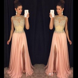 Promotion robe avant serrure Blush Pink Side Split Evening Robes 2016 Keyhole Neck Beaded Sequins Long Chiffon Prom Marqueur Robes Cristal Plus Size Formal Occasion