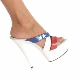 Wholesale 6 Inch Woman Platform High Heel American Flag High Heels cm Stiletto With White Star Slippers Hand Made Sexy High Heel Shoes