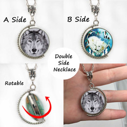 Wholesale Drop Shipping Wolf Logo Double Side Rotatable Necklace Glass Pendant mm Silve Long Chain Fashion jewelry For Women Wolf Backer