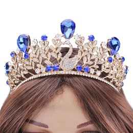 Wholesale Blue Rhinestones Beaded Beautiful Bride Wedding Accessories for Women Cheap Baroque Tiaras and Crowns Headpiece Indian Head Jewelry