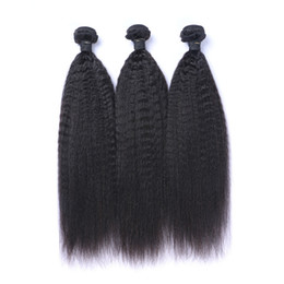 8A Quality Kinky Straight Hair Weave Brazilian Human Hair Without Chemical Processed Natural Color Bundles 2pcs lot 8-30inch in Stock