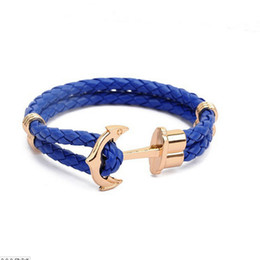 Boat Anchor Charm Bracelets Leather boat anchor Alloy Fish Hooks Bracelets Leather braid Bangle Lover Jewelry