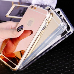 Wholesale iPhone Deluxe Electroplating Mirror TPU Clear Soft Phone Case Cover For iphone S Plus s Samsung Note S7 edge Case