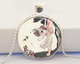 Wholesale Musical Fairy Necklace Woodland Fairies Bunny Rabbits Fantasy Art Glass Picture Pendant necklace
