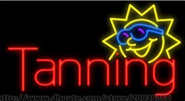 """Sun Tanning Neon Sign Handcrafted Custom Real Glass Tube Sandy Island Advertisement Display Neon Signs 19""""X10"""""""