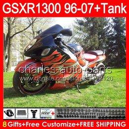 8gifts Pour SUZUKI Hayabusa GSXR1300 96 97 98 99 00 01 74NO180 brillant d'orange GSX R1300 GSX-R1300 GSXR 1300 02 03 04 05 06 07 Carénage noir à partir de 98 gsxr carénage orange noir fabricateur