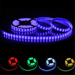 LED Strips LED RGB Strips Double Row 5M 5050SMD 600LEDs RGB LED Strip light 5M Led Flexible Strip + 44Key IR Remote + 5A Power