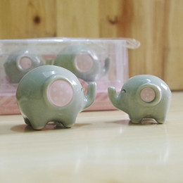 Wholesale 100pcs sets Baby shower favor Mommy and Me Little Peanut Elephant ceramic Salt and Pepper Shaker Wedding Favors and Gifts