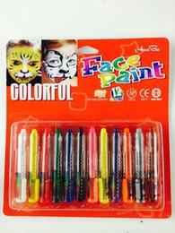 Convenient fashion Non-toxic face painting body painting paint pen12color combinations suit makeup paint pigment World Cup party