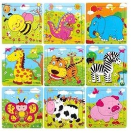 Wholesale jigsaw puzzle Wooden Puzzle toys Children s educational toys intellectual development seven colors color puzzle toys animal animal Puzzles