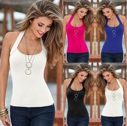 Wholesale and retail womens sexy low cut halter tops fashion Slim sleeveless shirt ladies hanging neck tank tops cheap woman vests Camisole