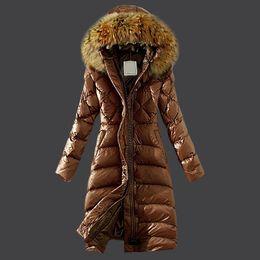 Women Long Jacket Puffer Duck Down Fur Collar Hoodie Cape Anorak Ladies Parka Fashion Female Coats