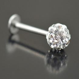 Lip Stud 20pcs lot 6 8 10 12mm Clear Shamballa Ball CZ Gem Disco Body Jewelry Lip Ring Labret Bar