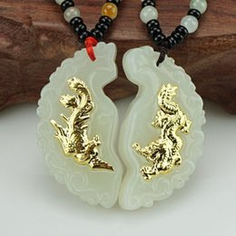 dragon and phoenix Natual Hetian white jade solid pure gold Couple pendant charms 3D thick gold love