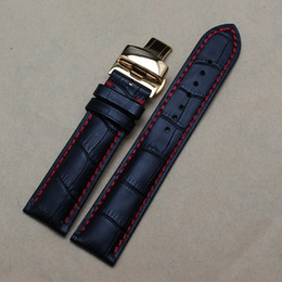 watchband for watch case 20 22mm Top Stylish Gold Butterfly Deployment Clasp Red stitched Genuine Leather Watchbands Bracelets