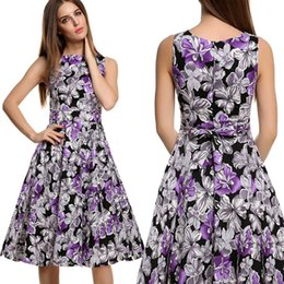 New Hot Good Selling Women Ladies Summer Fashion Cotton Blended Sleeveless Flower Printing Slim Sleeveless Dress 2552