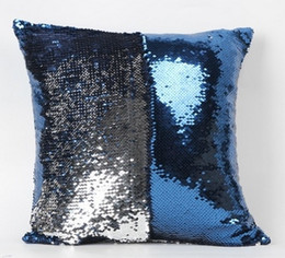Wholesale Bead Embroidered Sequin Pillow Cover Glamour Square Pillow Case Cushion Cover Home Sofa Car Decor Mermaid Bright Pillow Covers cm