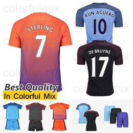 Wholesale 1617 Manchesters City Third Jerseys KUN AGUERO TOURE YAYA Best Quality Man City Soccer Jersey Orange Camiseta de futbol uniforms shirts