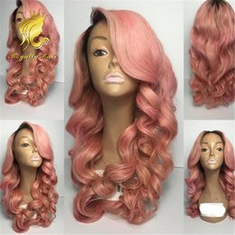 Wholesale Ombre b pink synthetic hair lace front wig for african americans inch side part
